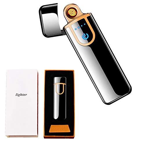 Electronic Lighter, ATian Rechargeable Lighter Touch Ignition USB Charging Lighter,Windproof Plasma Lighter for Candle, Cigarette Power Indicator Flameless Boyfriends Gifts
