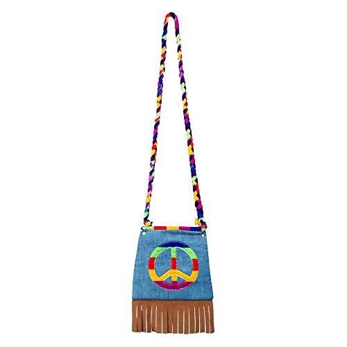 Boland 44519 - Sac à main Peace - Sac à bandoulière - Hippie, Peace - Flower Power - Accessoire années 60 - Fête à thème - Carnaval