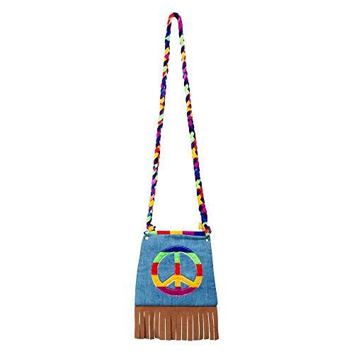 Boland 44519 - Handtasche Peace, Umhängetasche, Hippie, Peace, Flower Power, Accessoire, 60er Jahre, Motto Party, Karneval