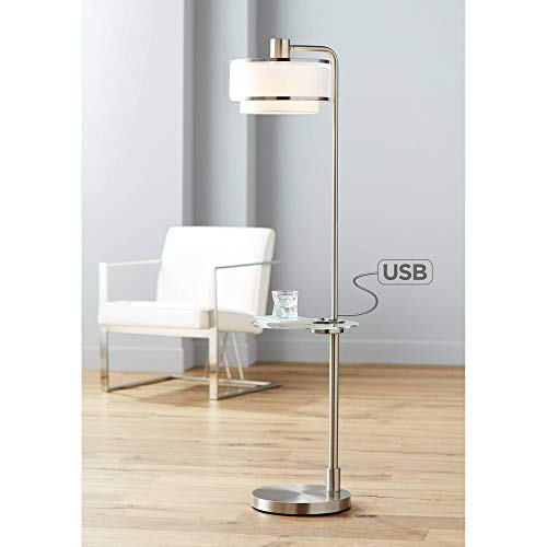 Vogue Modern Floor Lamp with Table Tempered Glass Brushed Nickel White Linen and Silver Organza Double Drum Shade USB Charging Port for Living Room Reading Bedroom Office - Possini Euro Design