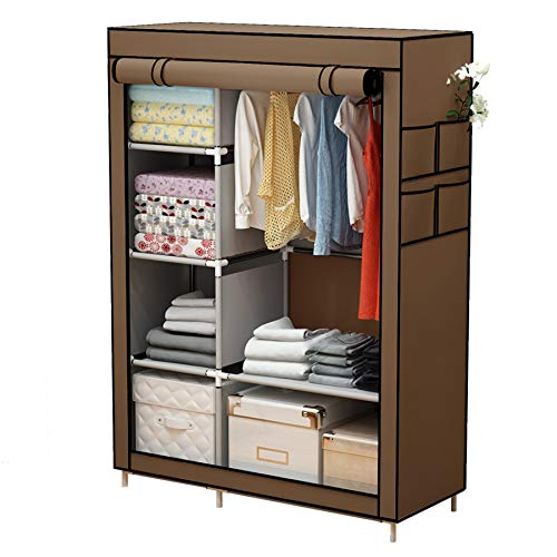 YAYI Canvas Wardrobe Portable Wardrobe Clothes Storage With 6 Shelves and Hanging Rail,Brown