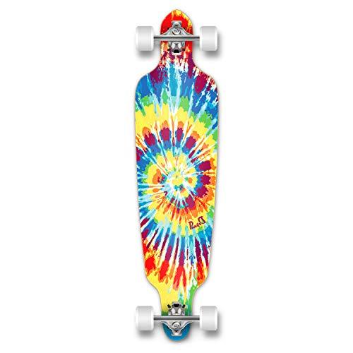 Punked graphique Drop Through Longboard complet professionnel vitesse Skateboard Noir/gris Tiedye Original