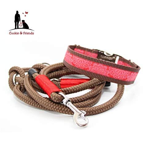 Set für Hunde, Set: Halsband + Leine, Halsband & Leine, Halsband+ Leine Set, Halsband HUnd, Hund Set, Set HUnd, Tauleine, Hundehalsband,Spitzenwerk Rot