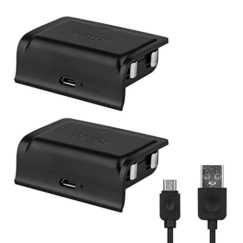 Riida Xbox one Battery Pack 1200mAh (2-Pack) Rechargeable Lithium for Xbox One S/Xbox One X/Xbox One Elite Wireless Controller with 2 of 1 Feet Micro USB Charging Cable and LED Indicator