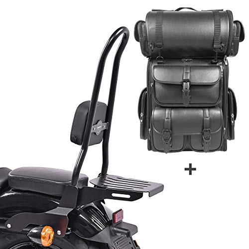 Respaldo CSXL Fix + Bolsa Trasera LX para Harley Sportster 1200 Iron 18-20