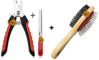 Sage Square Dog Nail Cutter with Clipper, Multicolor + Hair Brush for Pets Fur Shedding Comb for Dogs, Cats and Rabbits (C...