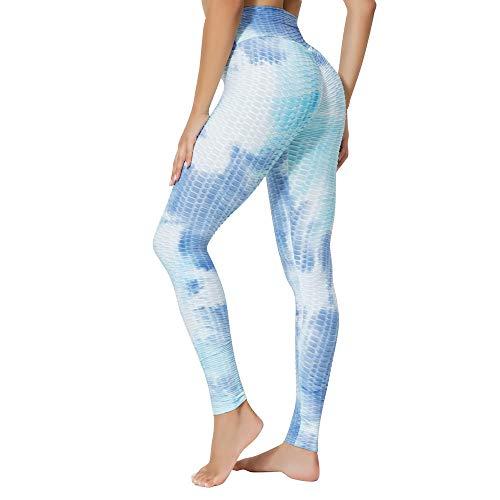 B/H Mujer Cintura Alta Pantalones Deportivos,Mallas para Running Training,Leggings de Cintura Alta con Levantamiento de Cadera para Mujer,Pantalones de Yoga con Efecto Tie-Dye-F_XXXL #