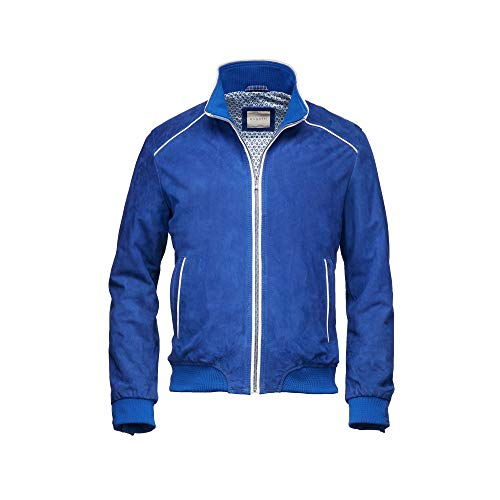 Bugatti sportlicher Lederblouson 5921-571-C New Joey (52, Electric Blue)