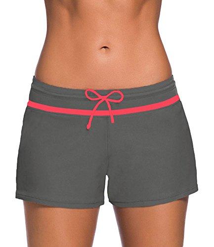 Damen Badeshorts Bikinihose Einfarbig Schwimmshorts Hotpants Schwimmen Badehose Boardshorts Graues Rosa XL