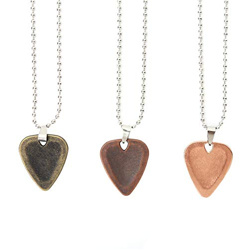 Dilwe Collar de Púa de Guitarra, 3pcs Aleación de Zinc Accesorios para Instrumentos Musicales Guitar Pick Colgante Collar Cadena