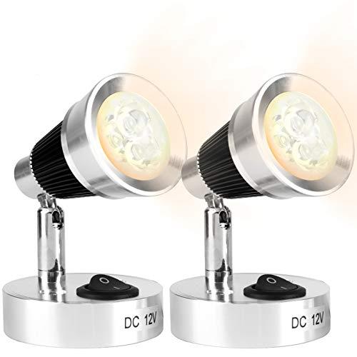 12V LED Spot Leselampe,longziming Wandleuchte Aluminium mit Schalter,Silber,330lm,3W,Farbtemperatur:3000K Warmes Weiß Licht für Wandscheinwerfer Nachttischlampe Motorhome Bootsbeleuchtung(2 STÜCKE)