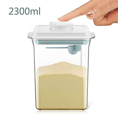 2.3L Luftdichte Milchpulver-Spender, Tragbarer Milchpulver-Kasten,Milchpulver Behälter mit Löffel, Einhandbedienung, Abnehmbar, zur Aufbewahrung von Baby Milchpulver, Obst und Lebensmitteln