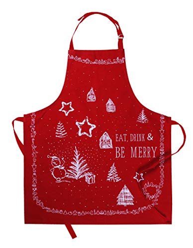 AMOUR INFINI Christmas Party Apron | 27.5 x 33 inches | 100% Natural Cotton | Holiday Apron for Women, Baking | Convenient Pockets and Adjustable Strap at Neck & Waist Ties