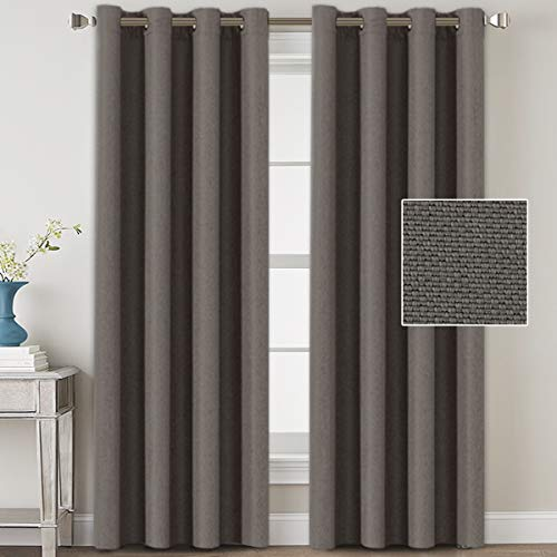 Linen Blackout Curtains 96 Inches Long for Bedroom / Living Room Thermal Insulated Grommet Curtain Drapes Primitive Textured Linen Burlab Effect Window Draperies 2 Panels - Taupe Gray