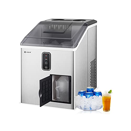IKER 【2021 New Version】 Countertop Ice Maker, 2 in 1 Ice Maker & Shaver Machine-33lbs/24H, 12 Bullet Ice Cubes in 10 Mins, Compact Portable Nugget Ice Maker with Crusher for Home/Kitchen/Office/Bar
