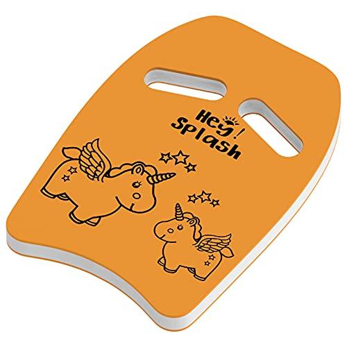HeySplash Schwimmbrett, Kinder Schwimmhilfe PE Schaumstoff Schwimmen Kickboard mit Griffen und Cartoon Muster Schwimmbrett Kick für Kinder Schwimmtraining Lernen Spielen am Pool See, Orange