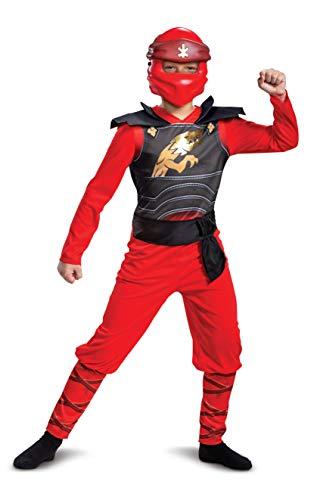 Disguise Kai Kostüm für Kinder, klassischer Lego Ninjago Legacy Themed Kinder Charakter Jumpsuit, Kindergröße L (10-12)