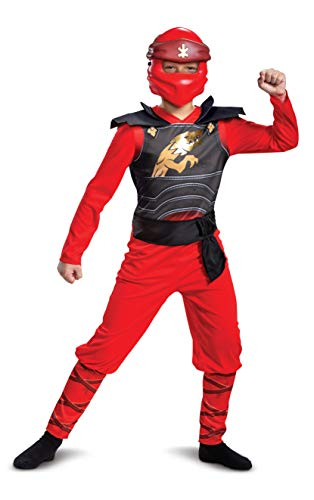 Disguise Lego Ninjago Kai Jumpsuit Classic Child Costume for Boys, Red & Black, Kids Size Large (10-12)