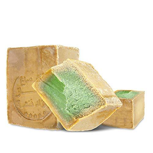 Aleppo Seife 2 x ca 200g, 85% Olivenöl 15% Lorbeeröl,PH Neutral, Vegan, Detox Handmade nach Rezeptur wie vor 1000 Jahren