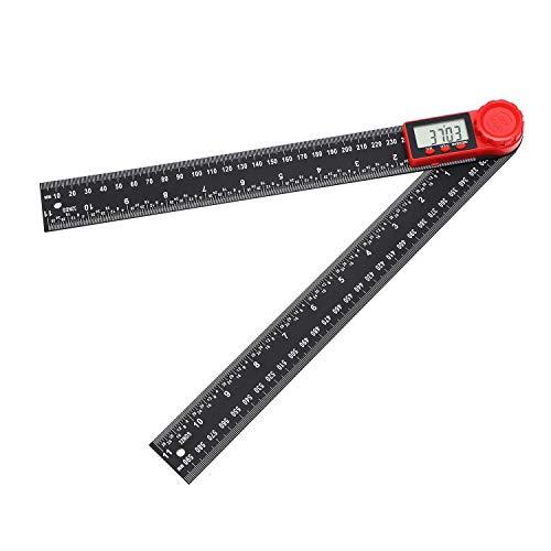 TOPWAY Digitaler Winkelfinder & Kohlefaserlineal + Winkelmesser 300 mm 0-360 ° für Technik, Holzbearbeitung, Konstruktion und Messung