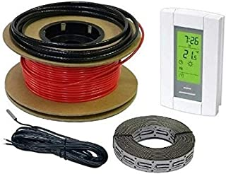 HeatTech 100 sqft Cable Kit Electric Radiant Floor Heating Cable Set, Floor Warming 120V, 400ft long, with AUBE Digital 7-day Programmable Floor Sensing Thermostat