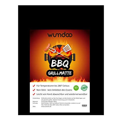 WUMDOO BBQ Grillmatte bis zu 280°C Temperatur | Grillunterlage 33 x 40 cm groß Non-Stick | Grillfolie Fiberglas Teflon | Grillpapier Grillauflage Grill und Backmatte | 20234