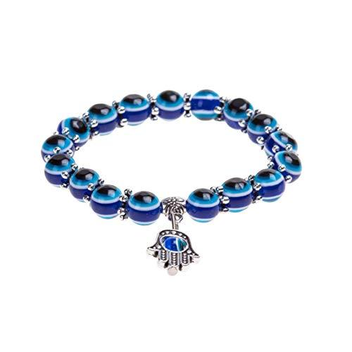 Odoukey Pulsera Pulsera del Encanto de los Ojos Azules Diseño cristalino de la Manera turca Ojo Suerte para Las Mujeres y los Hombres con Estilo único de la Cadena de Pulsera