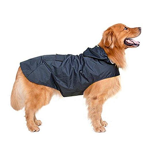 犬服 レインコート 中大型犬 フード付き マッジクテープ 裏地 メッシュ 梅雨 雨具 ポンチョ カッパ 雨の日...