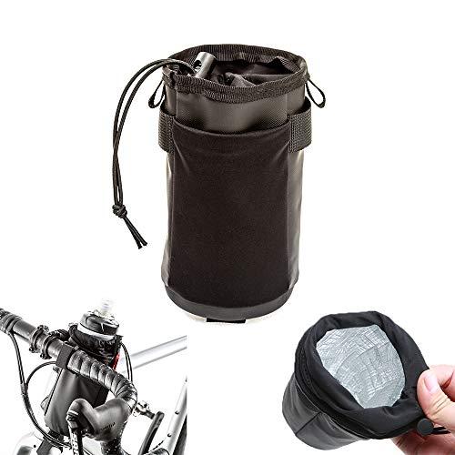 Bolsa de manillar de bicicleta, bolsa de bolsa de botellas de agua deportiva, con bolsa plegable, impermeable y resistente a los arañazos, con funciones de conservación de calor y refrigeración