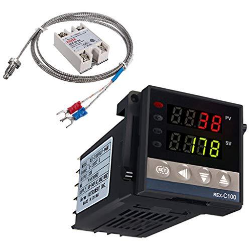 Digital Temperaturregler Kit 0-400 ℃ REX-C100 LED PID-Temperaturregle Thermostat mit K-Typ Thermoelement Sensoreingangsrelais SSR-Ausgang