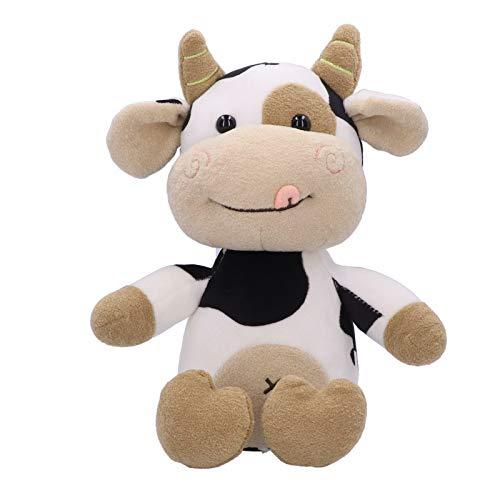 Peluche de Vaca Relleno Almohada de Peluche de Vaca de Animal Relleno Ganado Lindo de Dibujos Animados de Animales Becerro Muñeca Juguete Cumpleaños Regalo para Niños Pequeñosbebés(30cm)
