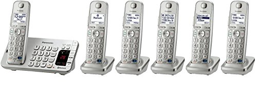 Panasonic KX-TGE275S + 1 KX-TGEA20S Handset (6 Handsets Total) Bluetooth Cordless Phone System with Dual Keypad (KX-TGE270S + 5, KX-TGE272S + 4, KX-TGE273S + 3, KX-TGE274S + 2) (Certified Refurbished)