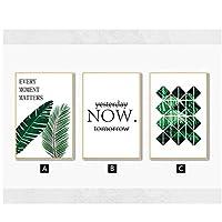 キャンバスに印刷、北欧の幾何学的な水彩画の植物プリント緑の葉のキャンバスの絵画ポスターミニマリストの写真フレームなし