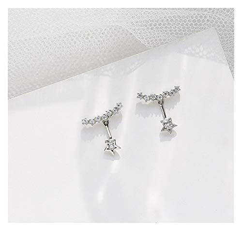 Fashion Zircon Zircon Earrings Jewelry Gift Female Korean Personality Wild Star Earrings (Color : Silver)