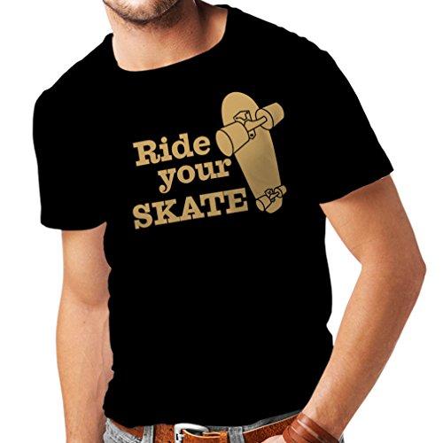 Camisetas Hombre Ride Your Skate! Streetwear, Urban Clothing, Skateboarding Clothes, Skating Gear (Medium Negro Oro)