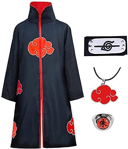 Amycute Itachi Mantello Naruto Costume per Bambini Adulti, Naruto Cappotto Fascia Anello Collana Halloween Natale Cosplay Accessori