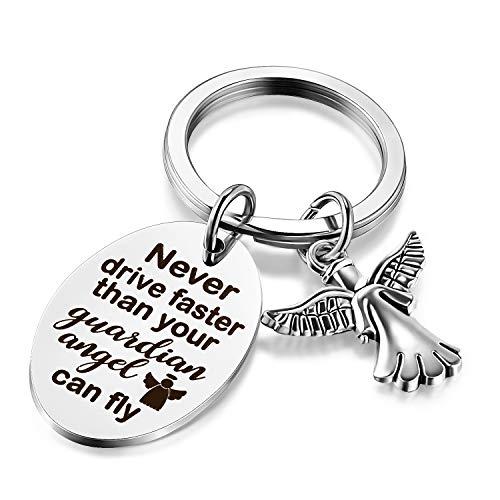 Porte-Clé Gardien 16 Porte-Clés Ange Porte-Clé Nouveau Pilote Ne Conduisez Jamais Plus Vite Que Votre Ange Ne Peut Voler 16ème Cadeau d'anniversaire pour Femme Fille Nièce