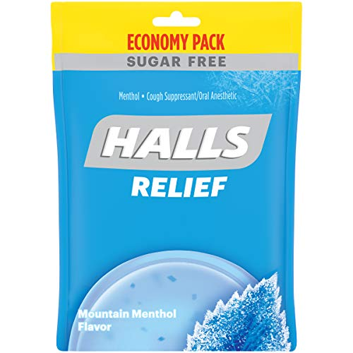 HALLS Relief Sugar Free Mountain Menthol Flavor Cough Drops, 12 Packs of 70 Drops (840 Total Drops)