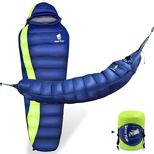 GEERTOP Leichter Mumienschlafsack, -5 °C bis 10 °C, tragbare Hängematte für Camping, Wandern, Rucksackreisen, Outdoor-Reisen