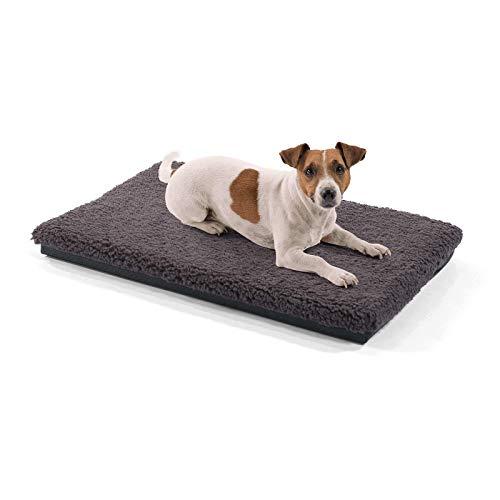 brunolie Luna kleine Hundedecke, orthopädisch, atmungsaktiv und waschbar, Hundematte mit gelenkschonendem Memoryschaum in Dunkelbraun, Größe S (60 x 40 x 5 cm)