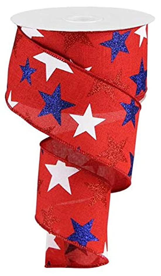 Glittered Stars Wired Edge Ribbon - 10 Yards (Red, 2.5