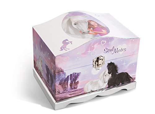 Nici 44905 Schmuckbox Soulmates Mystery Hearts mit LED Lichtern 13x18,5x14cm, bunt/Silber