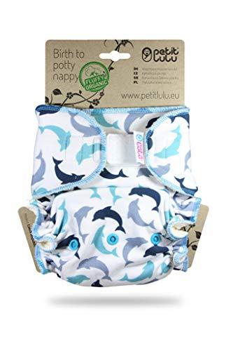 Petit Lulu Ajustados Talla Única (4-15kg) Pañales de Tela, Pañal de Bambú, Orgánico Esponjoso, Reutilizable y Lavable, Fabricado en Europa (Dolphins)
