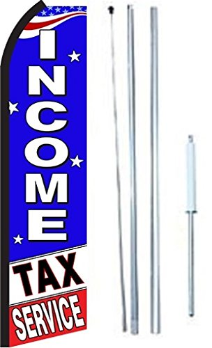 Income Tax Service King Swooper Feather Flag Sign With Complete Hybrid Pole set