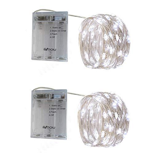 BXROIU 2 x 50er Micro LED Lichterkette Batterie betrieb 3 Programm und Timer Auf 5 Meter Silberdraht für Party, Weihnachten, Halloween, Hochzeit Deko (Kaltes Weiß)
