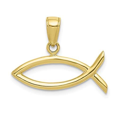 Abalorio horizontal de oro de 10 quilates con diseño de pez cristiano