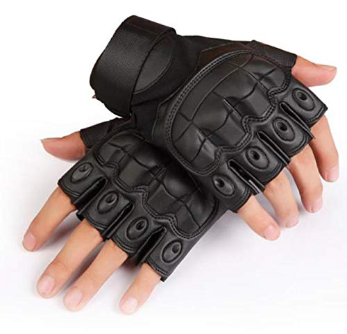 Univsal - Guantes tácticos sin dedos para airsoft, paintball, protección de cuero, nudillos de goma para hombre