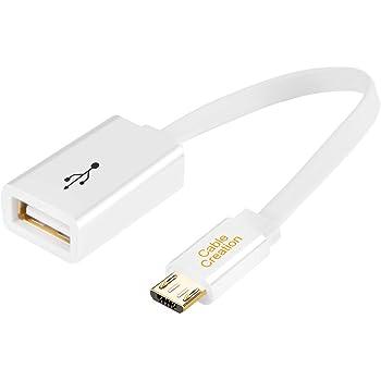 Micro USB 2.0 OTG ケーブル, CableCreation フラットOTG アダプターMicro USB オス(M) to USB メス(F) Samsung S7 S6 Edge S4 S3 Android or ほかのOTG性能付きのスマートフォン/タブレットに対応 ホワイト