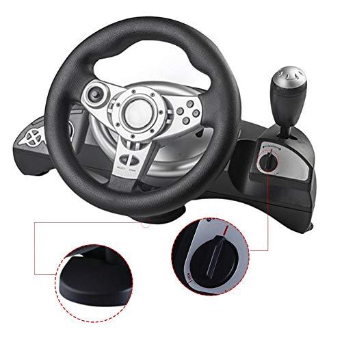 cuepar Driving Force Racing Roues et Pédales avec Vibration, Compatible avec D-Input/X-Input PS3 / PS2 / PC, Console de Jeux