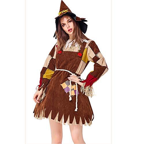 JJAIR Traje Adulto Mujer espantapájaros Mago de Oz, Cosplay de Halloween Espeluznante espantapájaros para Mujer Disfraz Fiesta de Carnaval,XL